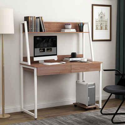 Merax Schreibtisch »WriteF«, aus Holz mit Ablage Regalschreibtisch mit 2 Schubladen Arbeitstisch