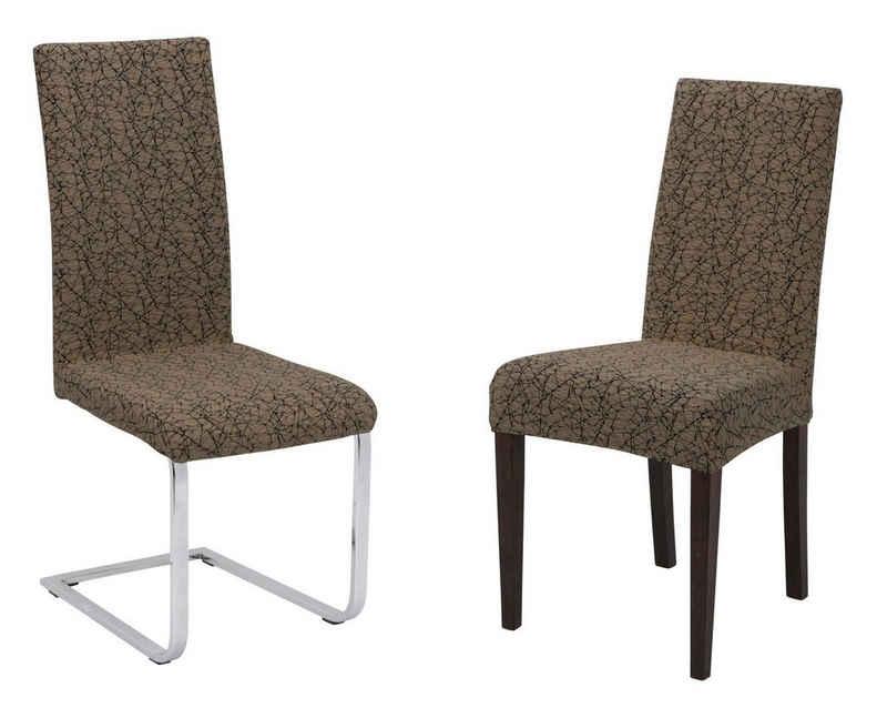 Stuhlhusse »Universal Stretch Stuhlhussen Sets von Beautex, elastische Husse Bi-Elastic, Marmor, Farbe wählbar«, Beautex