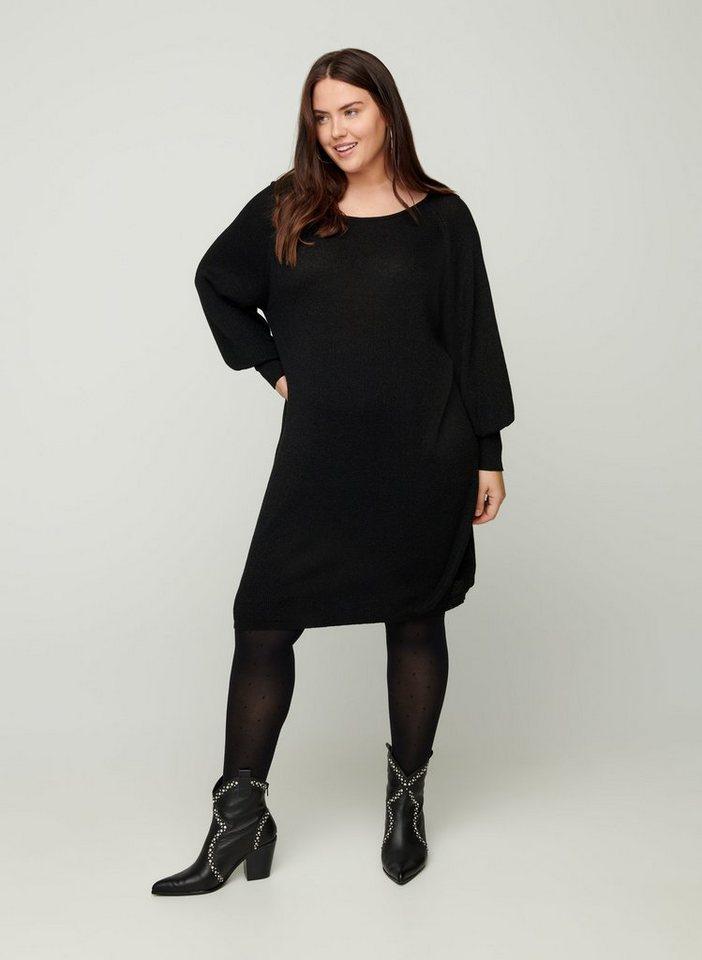 zizzi -  Strickkleid Große Größen Damen Kleid mit Schimmer, Ballonärmeln und Rundhals