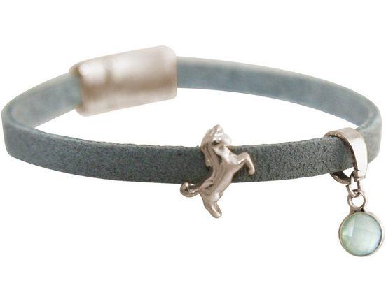 Gemshine Charm-Armband »in Leder mit Einhorn und Chalcedon seegrün«, Made in Germany
