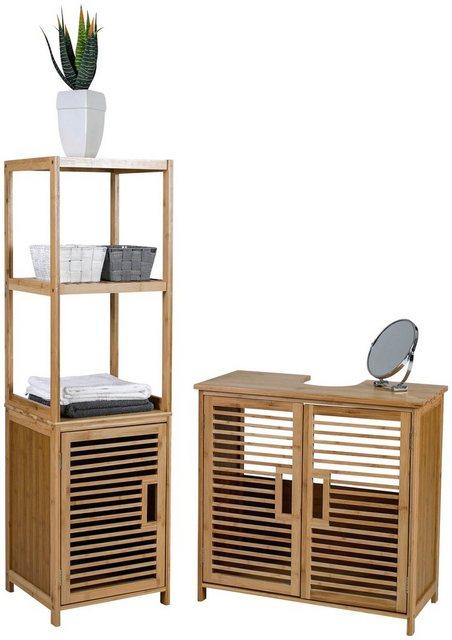 Badschränke - axentia Hochschrank »Badschrank, Bambus, mit Ablage« Maße ca. 33 x 115 x 33 cm  - Onlineshop OTTO