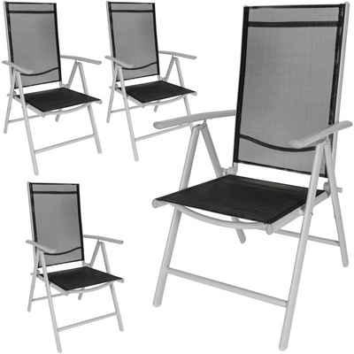 tectake Gartenstuhl »4 Aluminium Gartenstühle« (4 Stück), particularities_adjustable_back_rest,particularities_collapsible,particularities_easy_care,particularities_washable