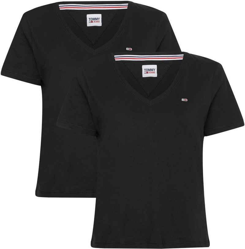 Tommy Jeans V-Shirt »TJW 2PACK SLIM SOFT V NECK TEE« (Packung, 2er-Pack) mit Tommy Jeans Logo-Flag auf der Brust
