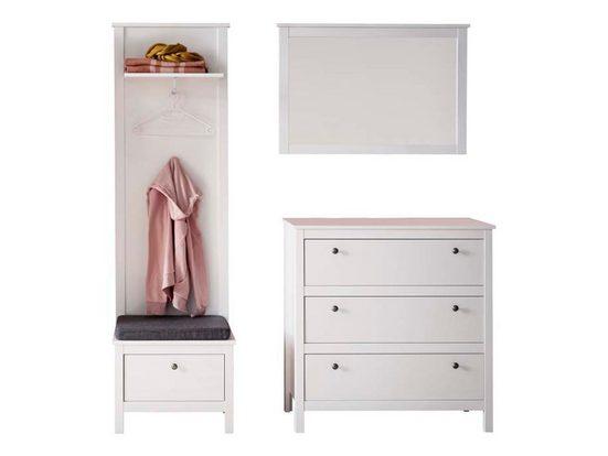 ebuy24 Kleiderschrank »Orla Garderobenaufstellung P, weiss, Spiegelglas.«