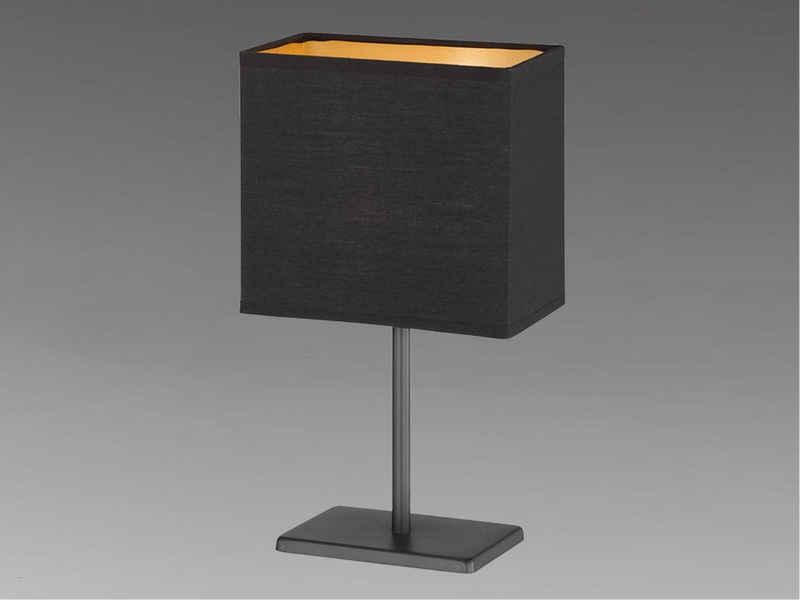 FHL easy! LED Nachttischlampe, klein Stoff-Lampenschirm Schwarz Gold eckig – Designklassiker für die Fensterbank