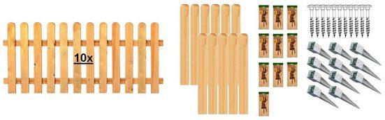 T&J Staketenzaun »Houston 8«, (Set), 10 Elemente, LxH: 1899x80 cm