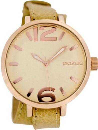 OOZOO Quarzuhr »UOC6835 Oozoo Armbanduhr Damen rosegold«, (Analoguhr), Damen Armbanduhr rund, Lederarmband beige, braun, Fashion