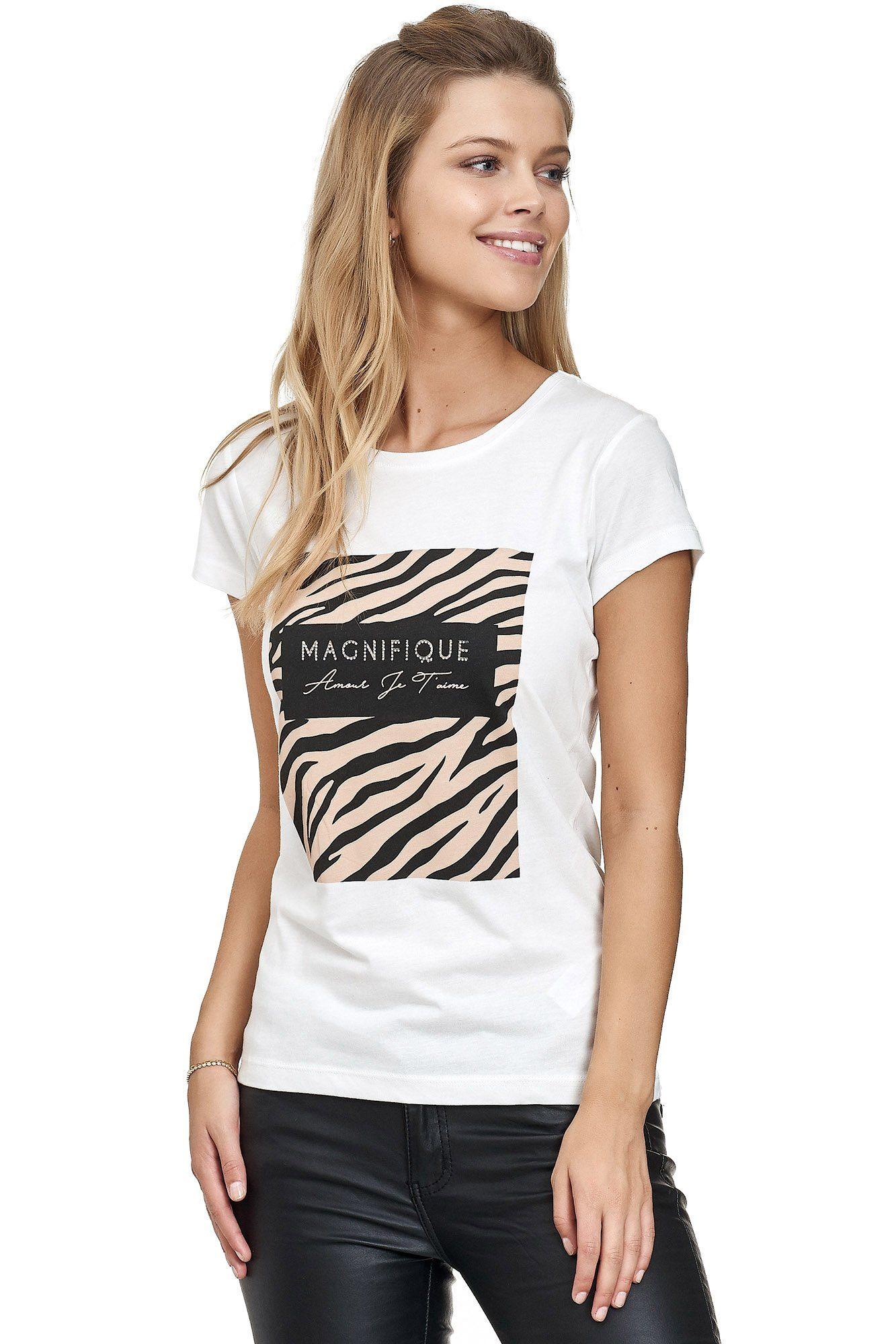 Decay T-shirt Mit Glänzendem Frontprint Aus Einer Weichen Baumwoll-modal-mischung Online Kaufen