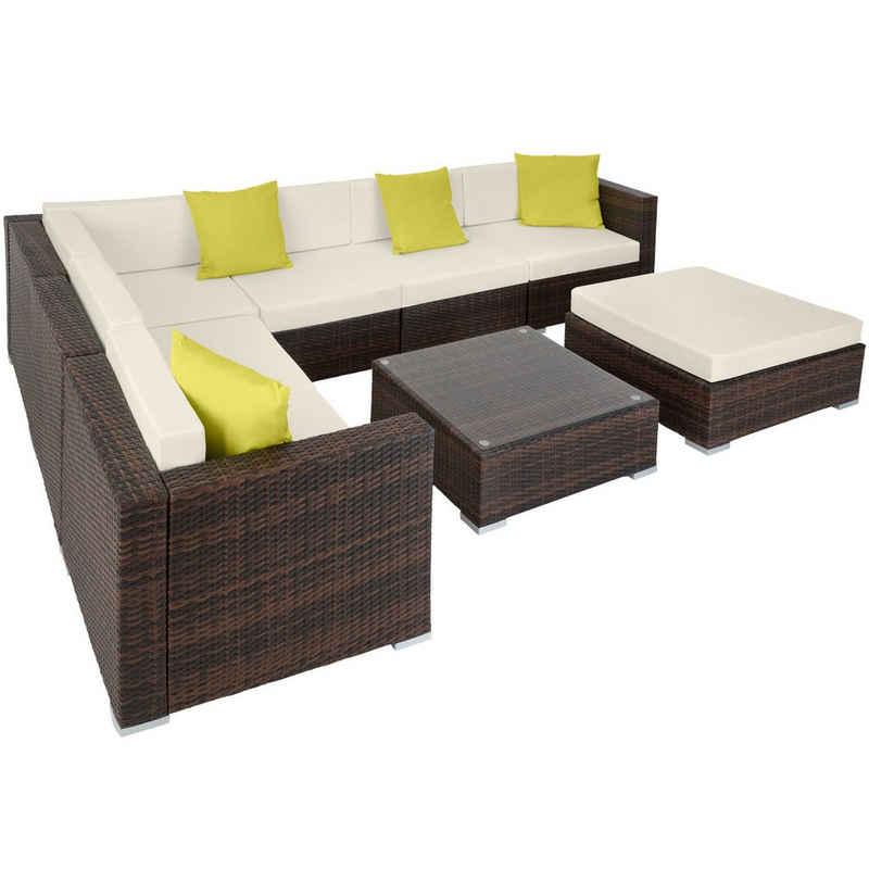 tectake Loungeset »Rattan Lounge mit Aluminiumgestell Marbella«, (8-tlg., inkl. Kissen)