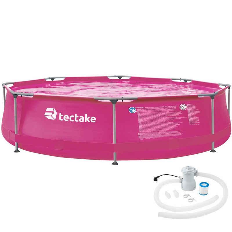 tectake Framepool »Swimming Pool rund mit Stahlrahmen und Filterpumpe«, komplettes Set, Verbindungsschläuche, Filter Kartusche, faltbar, Pumpe