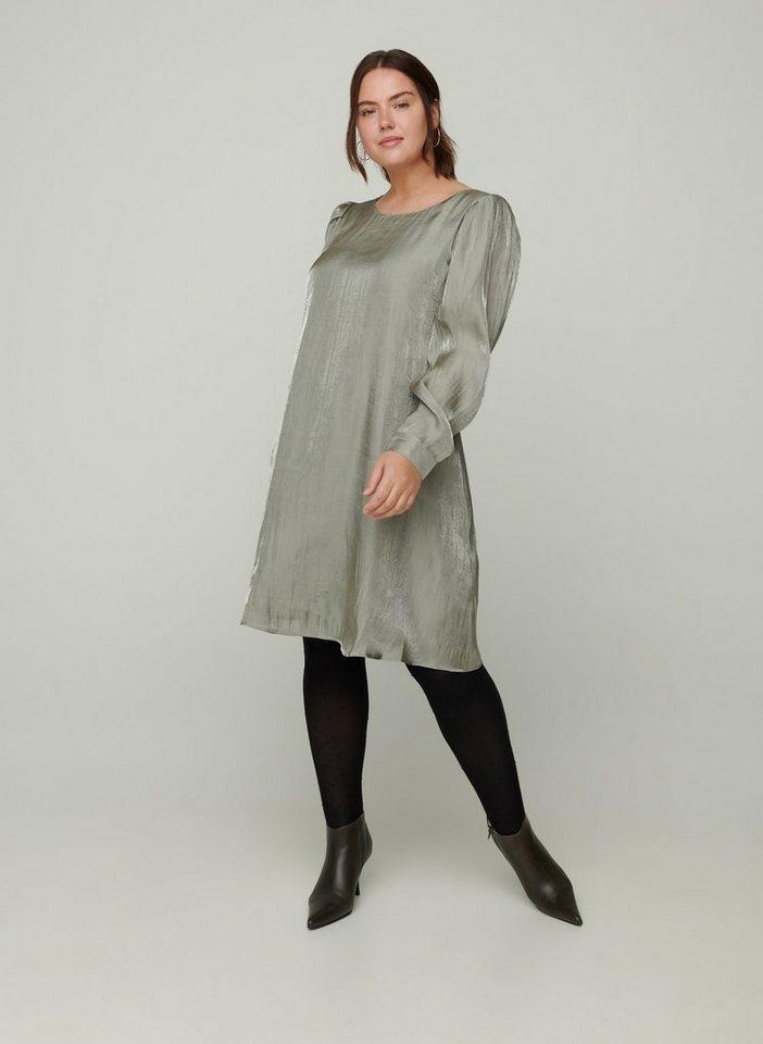 Festtagsmode - Zizzi Abendkleid Große Größen Damen Shiny Kleid mit langen Puffärmeln und Rundhals ›  - Onlineshop OTTO