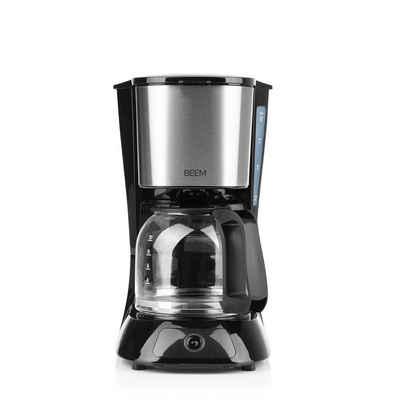 BEEM Filterkaffeemaschine BEEM FRESH-AROMA-PURE Filterkaffeemaschine - Glas 900W 1,25l, 1.25l Kaffeekanne