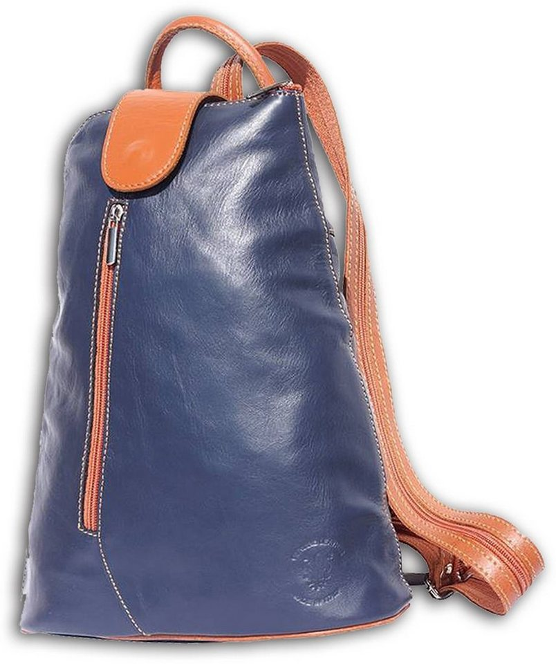 florence -  Cityrucksack »OTF601X  Damen Schultertasche Rucksack«, Damen Rucksack, Tasche, Echtleder blau, braun