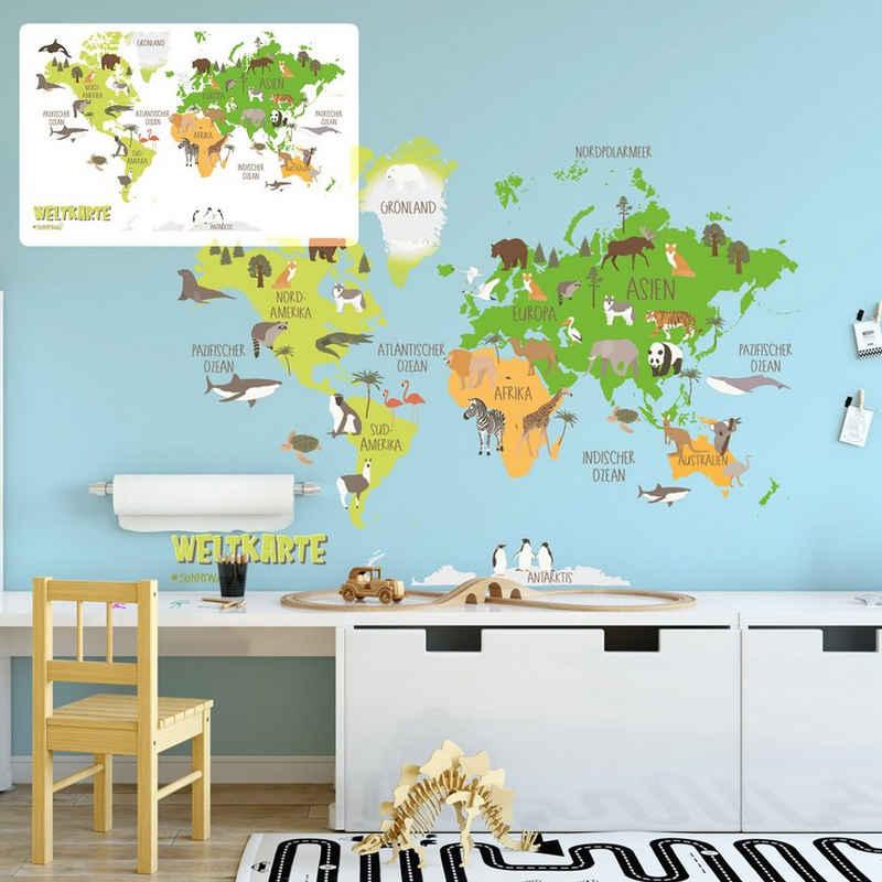 Sunnywall Wandtattoo »Wandtattoo Weltkarte Kinder Kinderzimmer Wandsticker Aufkleber bunt«