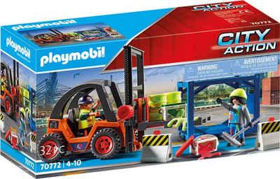 Playmobil® Konstruktions-Spielset »Gabelstapler mit Fracht (70772), City Action«, (32 St), Made in Germany