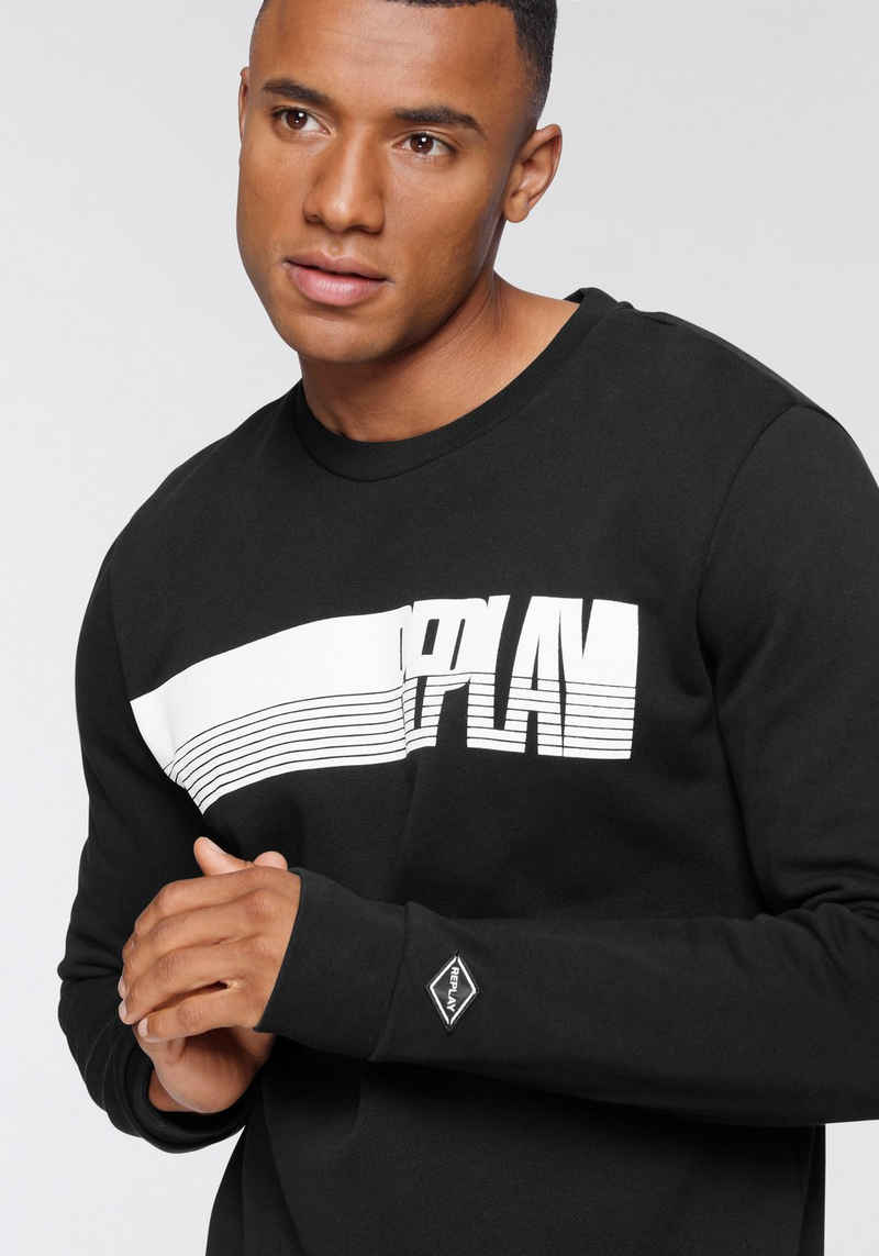 Replay Sweatshirt mit großem Logoprint vorne