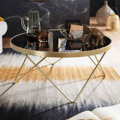 FINEBUY Couchtisch »FB49708«, Design Couchtisch DAINA Ø 82 cm schwarz / matt Gold Beistelltisch Metall / Glas Tisch mit Glasplatte Ablagetisch modern Großer Wohnzimmertisch Glastisch mit Metallgestell
