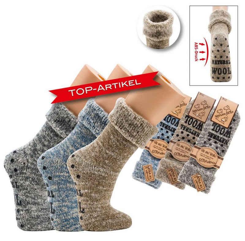 Socks 4 Fun ABS-Socken »Flauschige Thermo Wollsocken mit ABS Druck für Herren und Frauen« (Paar, 1-Paar, 1 Paar) mit ABS-Sohle