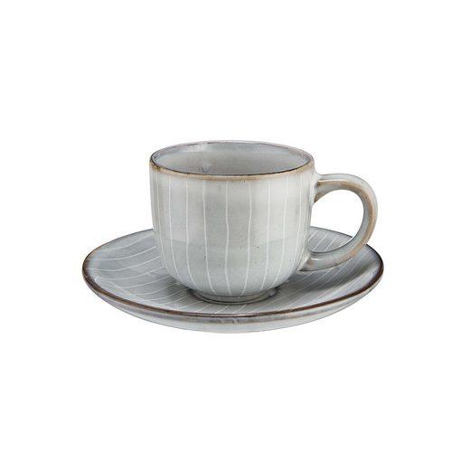 BUTLERS Espressotasse »HENLEY 4x Espressotasse mit Untertasse 90ml«, Steinzeug, reaktive Glasur