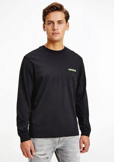 Calvin Klein Jeans Langarmshirt »MICRO FLOCK BOX POCKET LS TEE«
