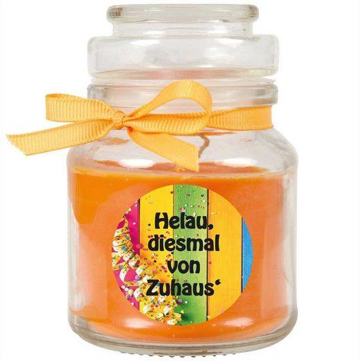 HS Candle Duftkerze (1-tlg), Karneval - Fasching Kerze im Bonbon Glas, Kerze mit Karneval's - Motiv