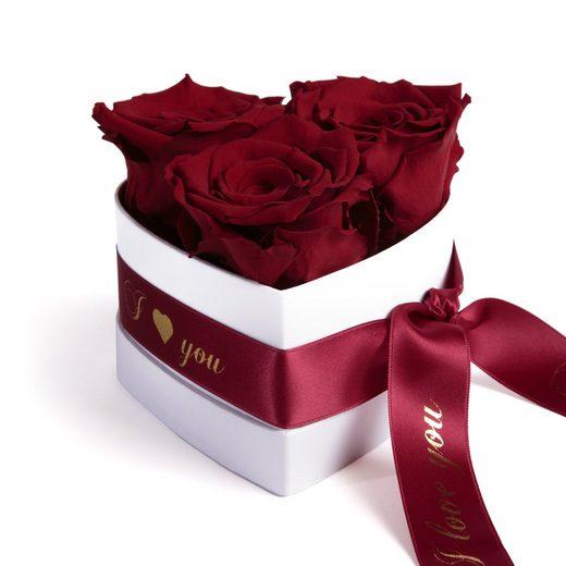 ROSEMARIE SCHULZ Heidelberg Dekoobjekt »Rosenherz 3 konservierte Infinity Rosen in Box I Love You Geschenk zum Valentinstag«, halbar bis zu 3 Jahre