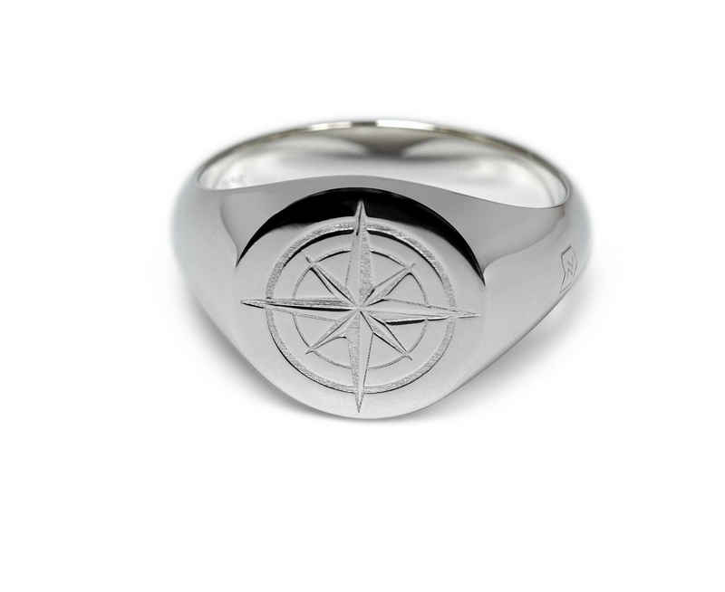 Sprezzi Fashion Siegelring »Herren Siegelring Silber Fingerring aus 925er Sterling Silber mit Kompass Symbol massiv« (inkl. Schmucketui geliefert), handgefertigt, aus Sterling Silver, Designed in Germany