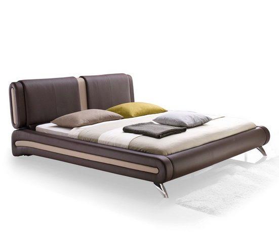 expendio Bett »Malin«, Polsterbett 180x200 cm aus Kunstleder mit attraktiv designter Form