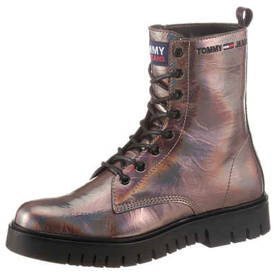 Tommy Jeans »IRIDESCENT PATENT LACE UP BOOT« Schnürboots im Metallic-Look