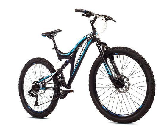 breluxx Mountainbike »26 Zoll Mountainbike Vollfederung GTX260 Sport 2D, Scheibenbremsen, schwarz«, 21 Gang Shimano Tourney Schaltwerk, Kettenschaltung