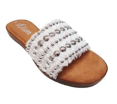 s.Oliver »s.Oliver Pantolette weicher Damen Latschen mit Perlenbesatz Hausschuhe Schlappen Weiß-Silber« Pantolette
