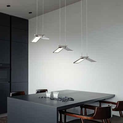 WOFI Pendelleuchte, Pendelleuchte Deckenlampe LED Esstischleuchte dimmbar Hängelampe nickel matt, 26,5W 1700lm 3000K, 70,5 x 35 x 150 cm