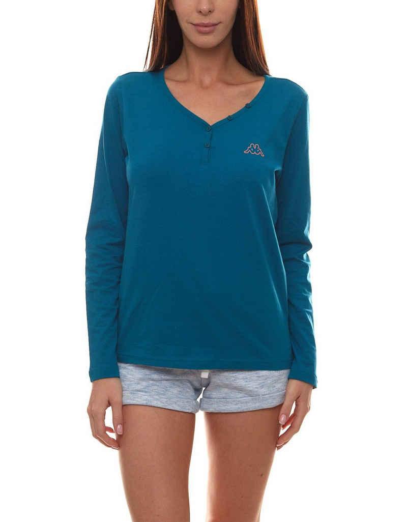 Kappa Longsleeve »Kappa Shirt bequemes Damen Henley Longsleeve Langarm-Shirt Pullover Petrol«