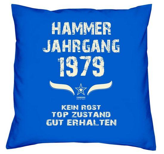 Soreso® Sitzkissen »Hammer Jahrgang 1979 Kissen Geschenk für Männer und Frauen Farbe schwarz«