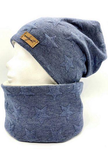 nadycat Mütze & Schal »2D STERNE blau« (2-tlg., Beanie & Loop) handgefertigt aus der Lausitz