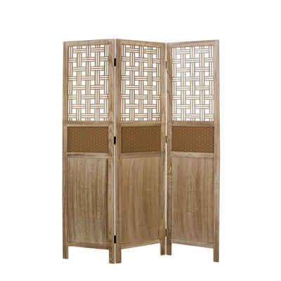 Homestyle4u Paravent »Raumteiler 3 fach Holz Trennwand spanische Wand Sichtschutz natur«, zusammenklappbar