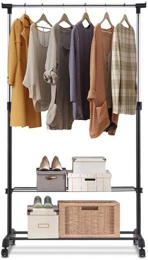 COSTWAY Kleiderständer »Garderobenwagen, Kleiderstange, Wäscheständer«, höhenverstellbar, freistehend, auf Rollen, mit 2 Ablagen