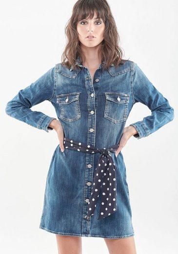 Le Temps Des Cerises Jeanskleid »AUDREY« mit durchgehender Knopfleiste und Pünktchen Bindetuch