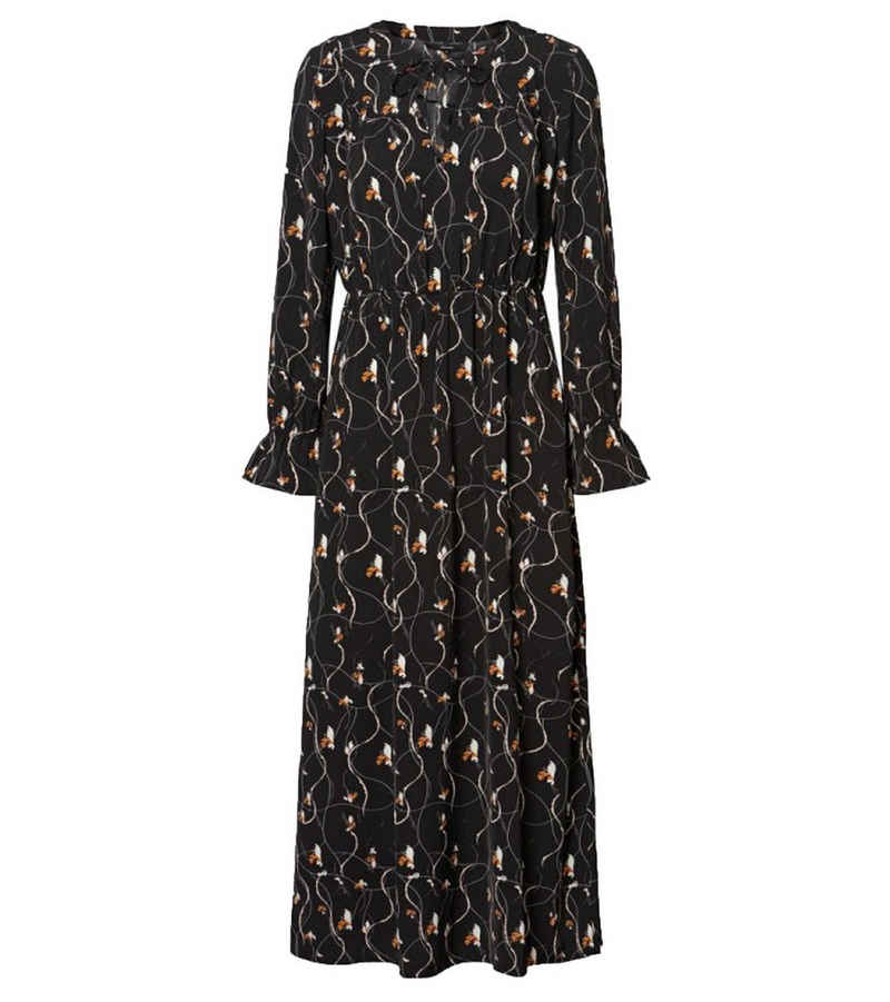 Vero Moda Sommerkleid »VERO MODA Galice Maxi-Kleid reizendes Damen Herbst-Kleid mit langen Ärmeln und Schluppe Print-Kleid Schwarz«