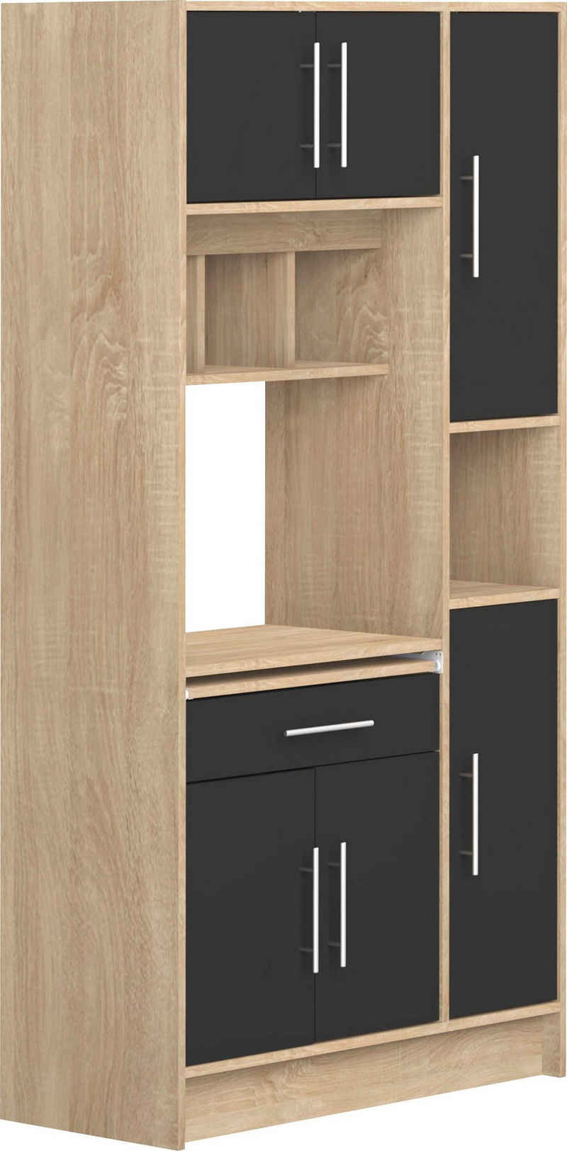 TemaHome Küchenbuffet »Louise« ausziehbarer Kleiderschrank, mit Fach für eine Mikrowelle und vielen Fächern, Höhe 180 cm