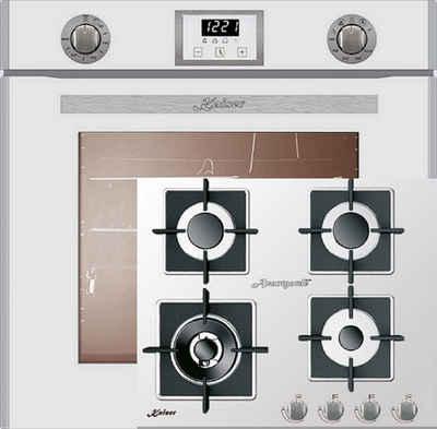 Kaiser Küchengeräte Gasherd-Set EG 6374 W + KCG 6382 W, Einbau-Backofen 60cm in Weiß/Gas Backofen/Gas-Kochfeld 60 cm/Autark/Drehspieß/Grill/Heißluft/Selbstreinigung/Erdgas/Propangas