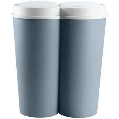 Deuba Mülleimer »Duo Bin«, 50 L 2fach Trennsystem 2x25 L Küche Abfalleimer Müllbehälter Mülltrennung Blau