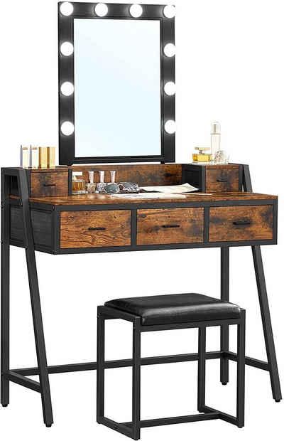 VASAGLE Schminktisch »RVT015B01«, Kosmetiktisch mit Hocker, 10 LED-Glühbirnen, Spiegel, vintage
