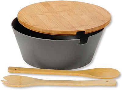 KESPER for kitchen & home Salatschüssel, Kunststoff, (Set), inkl. Deckel und Salatbesteck