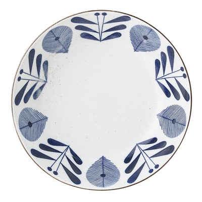 Bloomingville Servierschale »Camelia«, Schale, weiß / blau, Ø 21,5 cm, 750 ml, Servierschüssel, Suppenschüssel, Schüssel, tiefer Teller, Porzellan, dänisches Design