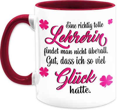 Shirtracer Tasse »Eine richtig tolle Lehrerin findet man nicht überall - Tasse Berufe - Tasse zweifarbig«, Keramik