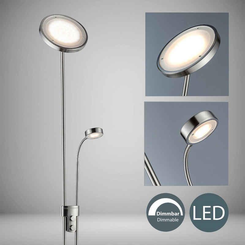B.K.Licht LED Deckenfluter »Luan«, LED Stehleuchte dimmbar Metall Wohnzimmer Stehlampe schwenkbar inkl. 21W 2.000lm