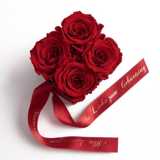 ROSEMARIE SCHULZ Heidelberg Dekoobjekt »Rosenbox Blumenbox Alles Liebe zum Geburtstag Geschenk für Frauen« (1 Stück), Echte konservierte Rosen