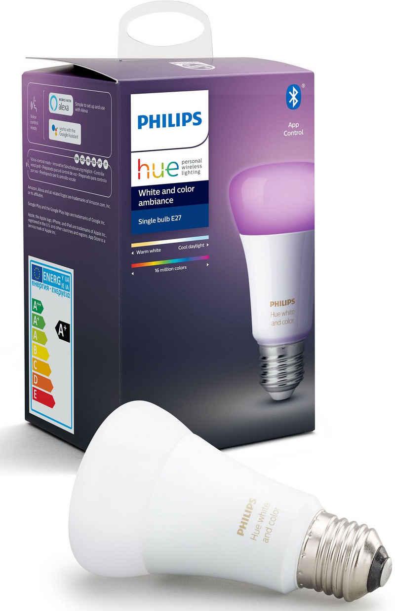 Philips Hue »White and Color Ambiance Einzelpack 1x806lm« LED-Leuchtmittel, E27, 1 Stück, Warmweiß, Tageslichtweiß, Neutralweiß, Extra-Warmweiß, Farbwechsler
