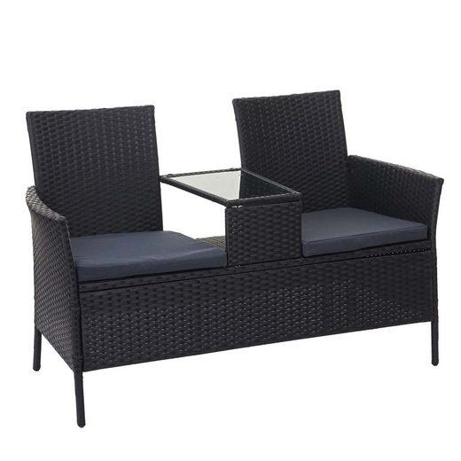 MCW Gartenbank »MCW-E24«, Poly-Rattan, Maximale Belastbarkeit pro Sitzplatz: 120 kg, Mit Armlehnen, Bezüge mit Reißverschluss, wasserabweisend, Neigt nicht zum